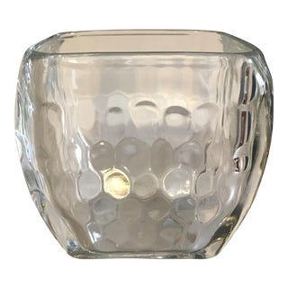 Contemporary Basket Weave Crystal Candle Holder