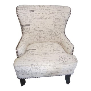 French Script Wing Chair with Nailhead Trim