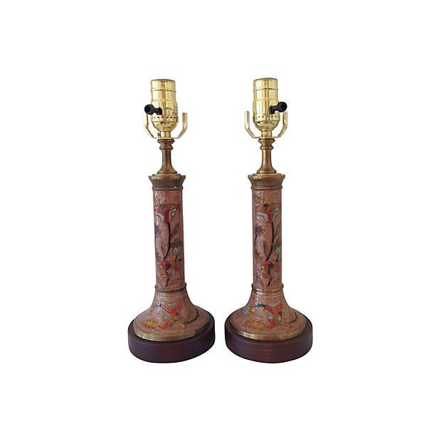 Midcentury Cloisonne Lamps - A Pair - Image 3 of 6