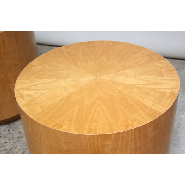 Pair of Large Bookmatched Bird's-Eye Maple Drum Tables - Image 3 of 7