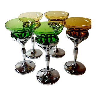 Colorful Glass & Silver Plate Wine Glasses- Set of 5
