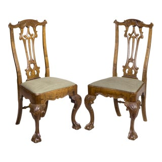 A Pair of Carved Chippendale Claw & Ball Side Chairs