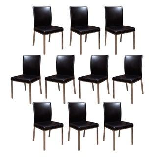 Modern Dining Chairs in Black Naugahyde - Set of 10