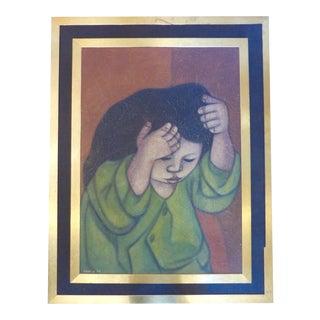 """Chiki"" Mid-Century Oil Painting"