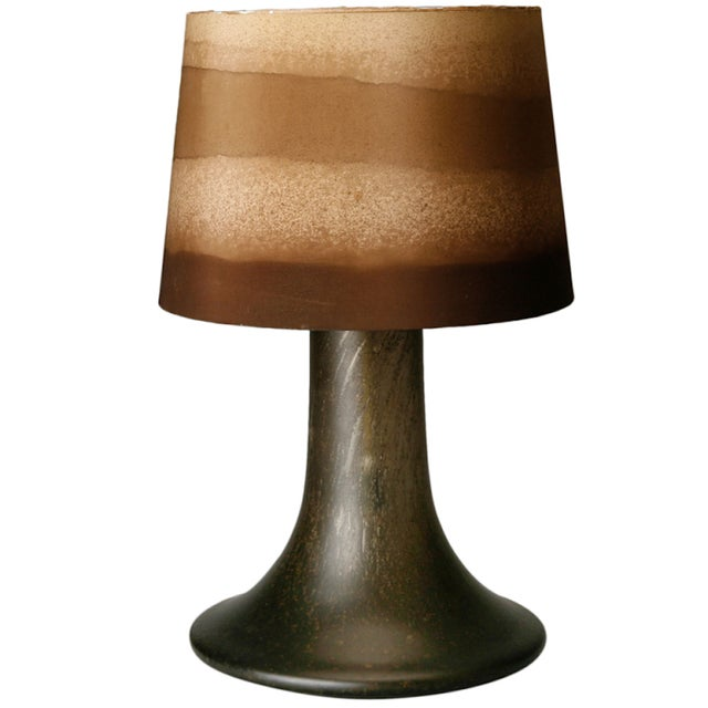 Mid Century Brown Art Glass Lamp With Original Striped Shade - Image 1 of 6