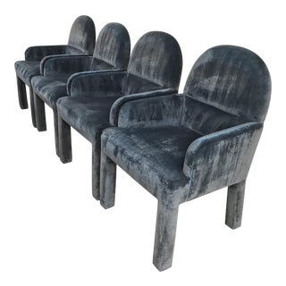 Crushed Velvet Dining Chairs - Set of 4