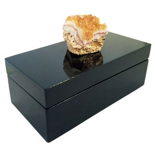 Citrine Geode Topped Lacquered Box