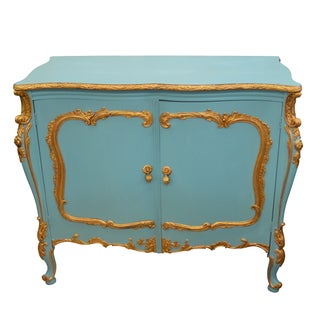 Vintage Blue & Gold French-Style Chest