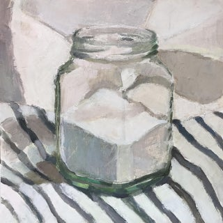 Sugar Jar on Stripes Original Oil Painting 8x8