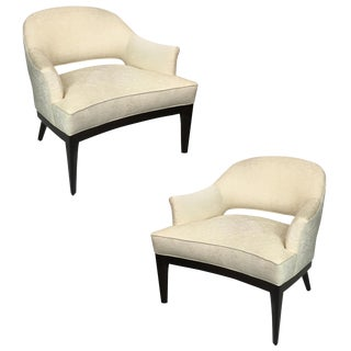 Chic Pair of Mahogany Club Chairs by Harvey Probber