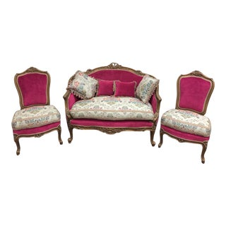 Vintage French Style Loveseat & Chairs - Set of 3