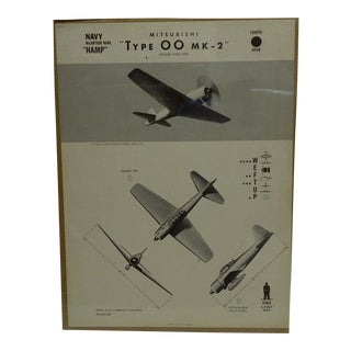 "Vintage WWii Aircraft Recognition Poster ""Mitsubishi - Type 00 Mk-2"", Japan, 1943"