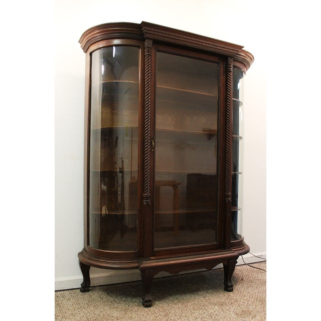 Image of Antique Oak Barley Twist Ball Claw China Cabinet