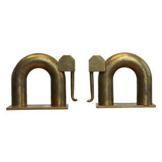Modernist Brass Elephant Bookends by Chase