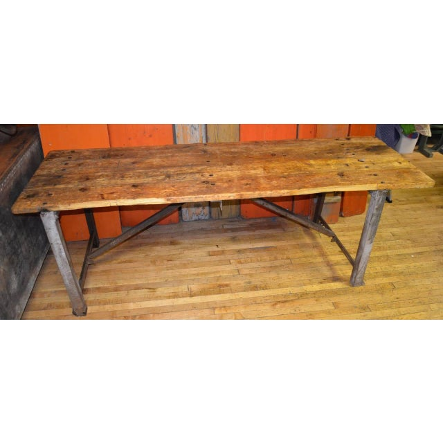 Image of Primitive Wood and Steel Work Table/Island