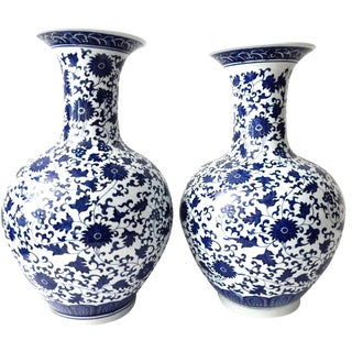 Blue & White Onion-Shape Vases - A Pair
