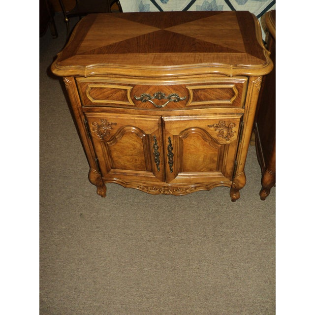 Stanley French Provincial Pecan Nightstands - A Pair - Image 4 of 6