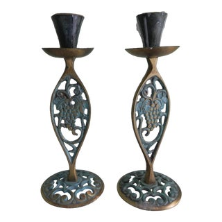 1970s Brass Candle Holders With Verdigris - A Pair