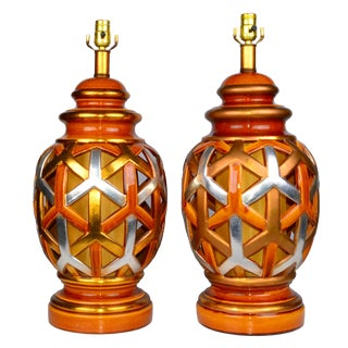 Goyard-Style Ceramic Table Lamps, Pair