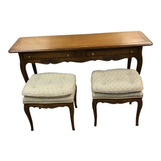 Kindel Hollywood Regency Console Table W/ Matching Pair of Stools - 3 Pc.