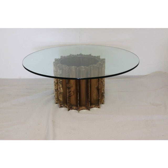 Mid-Century Brutalist Brass & Glass Cocktail Table - Image 3 of 5