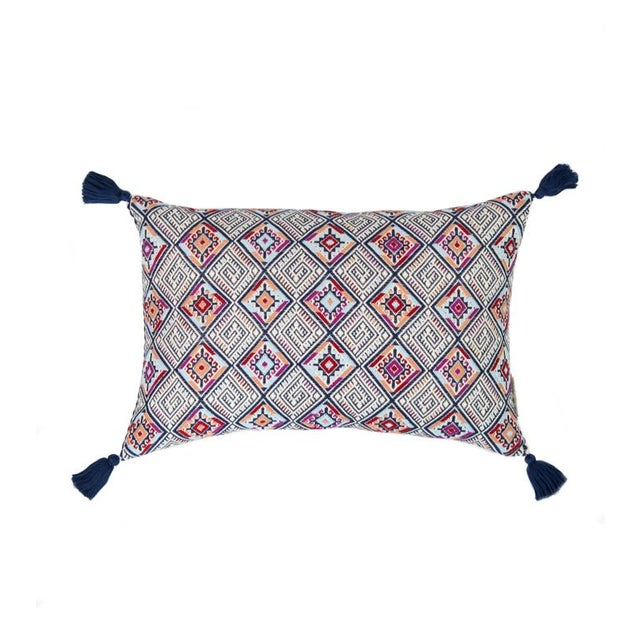 Navy & Red Handwoven Guatemalan Pillow - Image 1 of 5