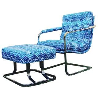 Mid-Century Baughman Style Cantilever Chair & Ottoman