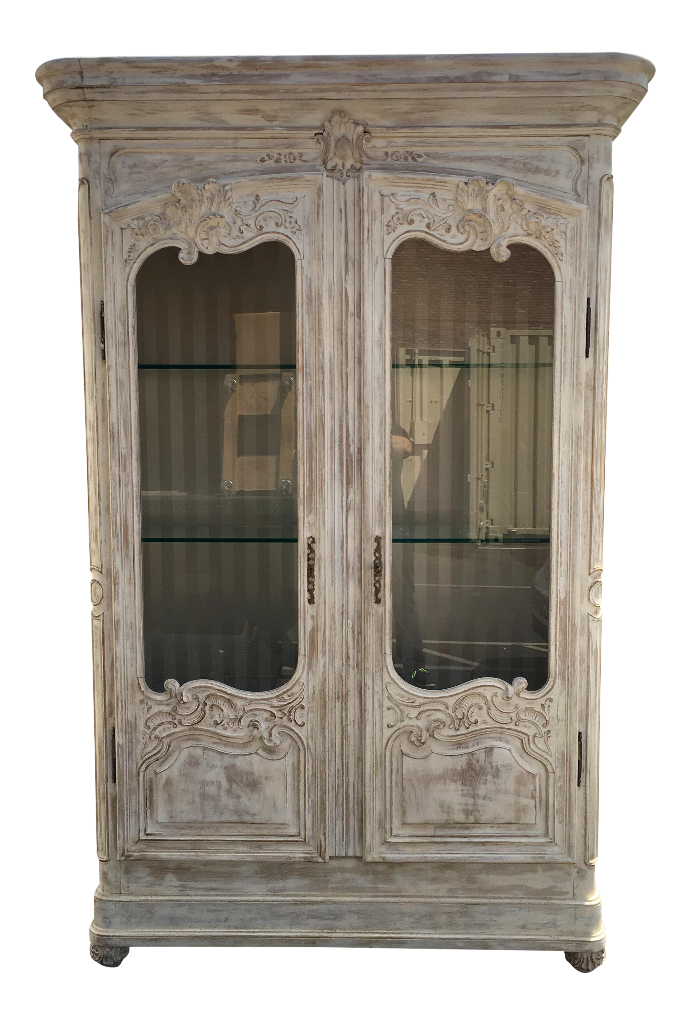 Antique French Armoire Vitrine Display Cabinet