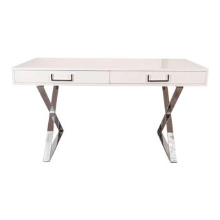 Milo Baughman White Lacquered Writing Desk