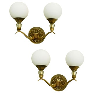 Arlus Brass & Opaline Glass Sconces - A Pair