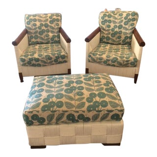 Donghia Block Island 2 Armchairs and Ottoman W/New Goose Down Pillows