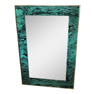 Vintage Faux Malachite Green & Brass Wall Mirror