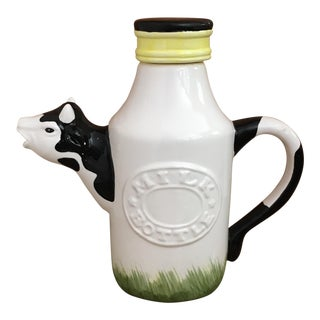 Porcelain Cow Milk Bottle Pitcher with Cover
