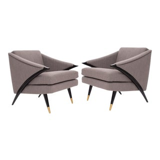 Sculptural Pair of Upholstered & Ebonized Lounge Chairs