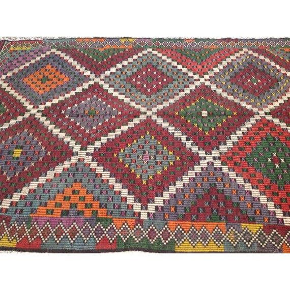 "Vintage Turkish Kilim Rug - 6'9"" X 11'4"" - Image 4 of 6"