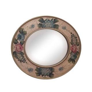 Vintage Hand Painted Crackled Wood Mirror