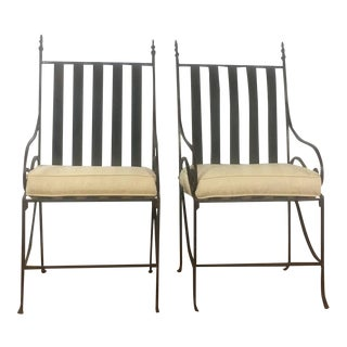 Vintage Metal Patio Armchairs - A Pair