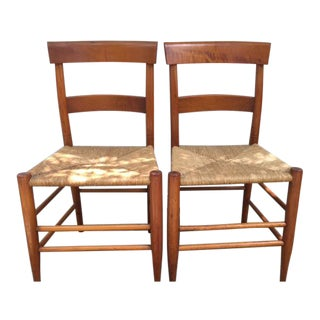 C. Robinson Antique Rush Seat Dining Chairs - A Pair