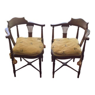 Antique Mahogany Accent Chairs - A Pair
