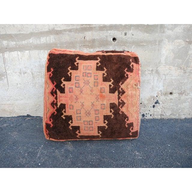 Pink & Brown Moroccan Kilim Floor Pillow - Image 2 of 4