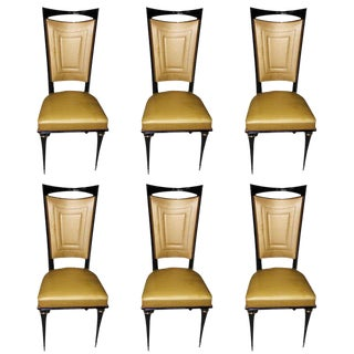 1940's French Art Deco Mahogany Dining Chairs - Set of 6