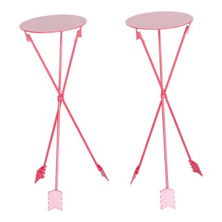 Red Metal Arrow Side Tables - A Pair