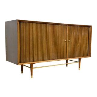 Furnette Walnut & Brass Credenza Speaker