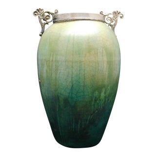 French Art Nouveau Cucumber Glaze Urn With Sterling Rim and Handles Attributed to Eugene Baudin