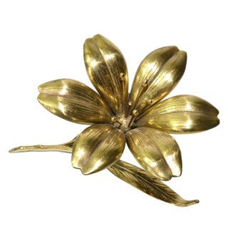 Vintage Brass Lotus Flower Ashtray
