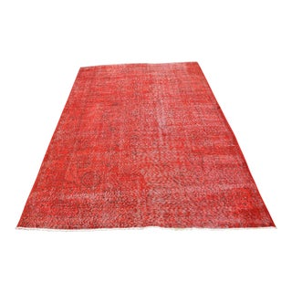 Turkish Overdyed Red Rug- 5′8″ × 8′5″