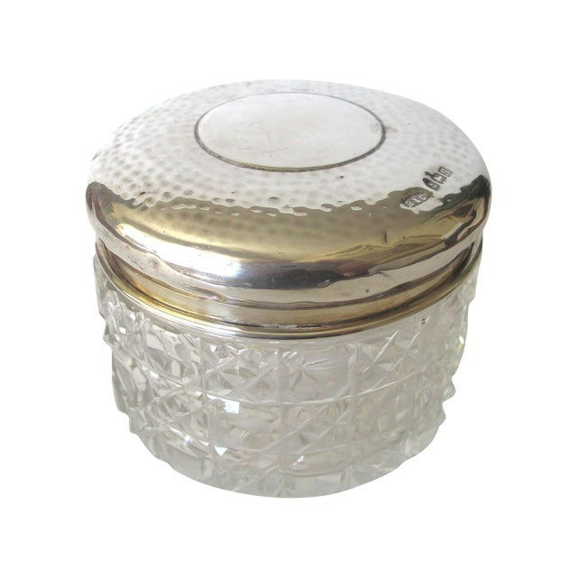 Image of Etched Sterling Silver Top Antique Glass Jar