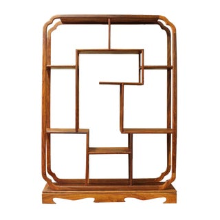 Chinese Rosewood Rectangular Table Top Curio Display Stand cs2627