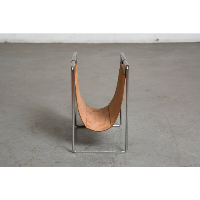 Mid-Century Leather and Chrome Magazine Stand - Image 4 of 9