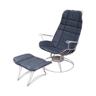 Homecrest Mid-Century Wire Frame Chair & Ottoman